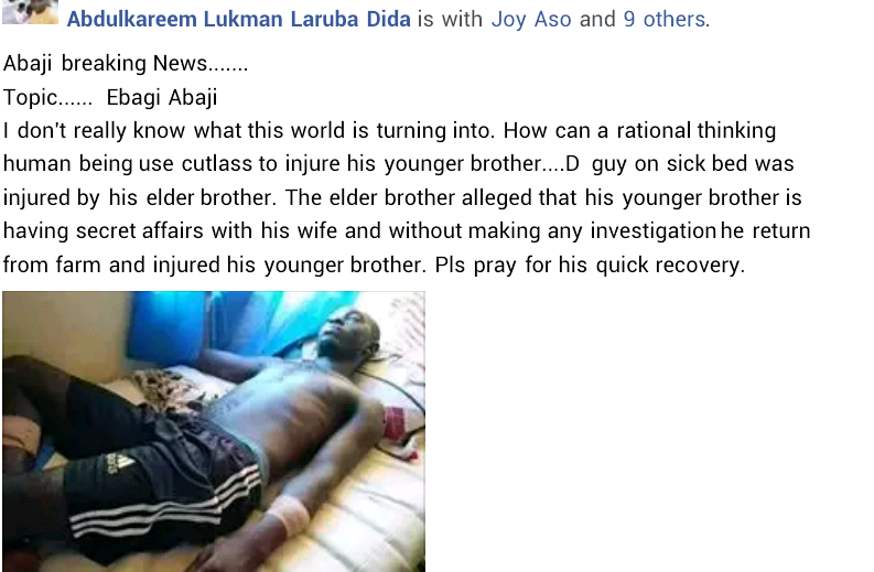 Man attacks his younger brother with machete in Abuja for having a secret affair with his wife
