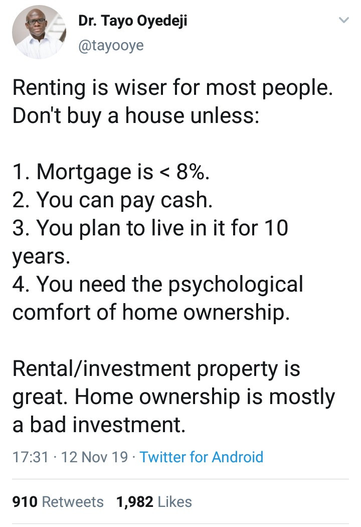 "Finance professor, Dr. Tayo Oyedeji shocks followers as he says, ""Renting is wiser for most. Home ownership is mostly a bad business"""