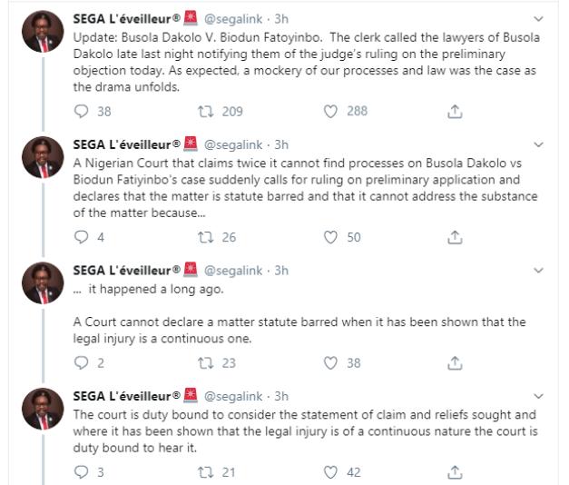 Segalink confirms Busola Dakolo lost rape case against Pastor Fatoyinbo