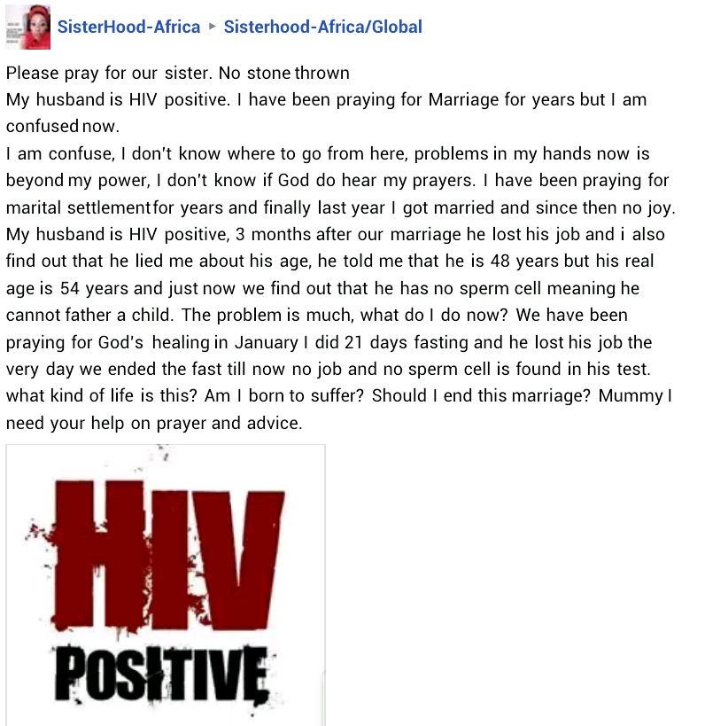 Nigerian woman alleges that her new husband is HIV positive, lied to her about his age and has no sperm cell