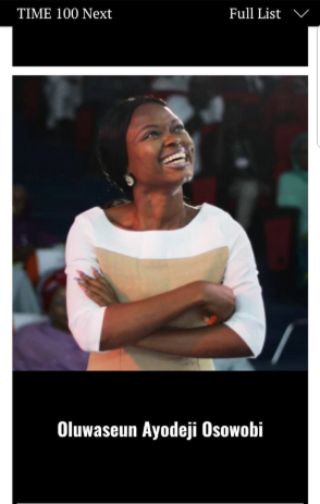 Nigeria?s Oluwaseun Ayodeji Osowobi makes TIME 100 Next list and her story will inspire you