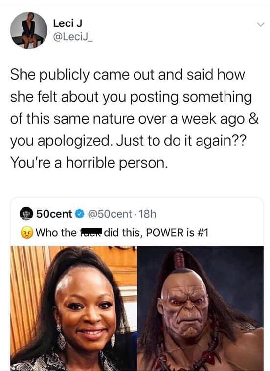50 Cent slammed for trolling Power co-star Naturi Naughton again