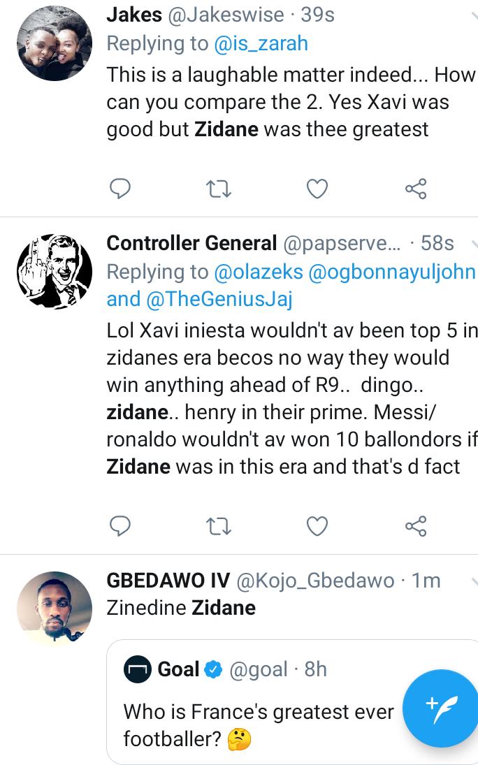 Football lovers... Between Zidane or Xavi who was your favorite midfielder (see tweets)