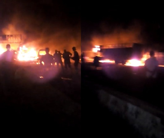 Two confirmed dead as petrol tanker explodes on Lagos-Abeokuta expressway (photos)
