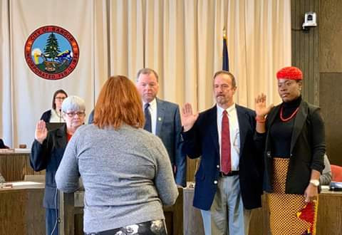 Photos from the swearing in ceremony of Nigerian woman Angela Okafor who made history by becoming the first Immigrant and Black to win council seat in Bangor, US