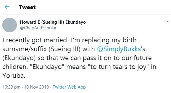 Engineer who recently got married reveals he's taking his wife's surname
