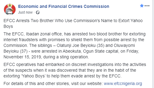 EFCC arrests two brothers for extorting ?Yahoo boys? (photos)