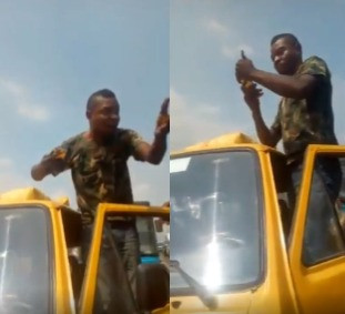 Army official caught on camera assaulting LASTMA officials after flouting traffic laws (video)