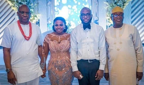 Photos: Putting their political differences aside, Ekiti state gov, Kayode Fayemi, attends wedding of his predecessor, Ayo Fayose's son, Funsho