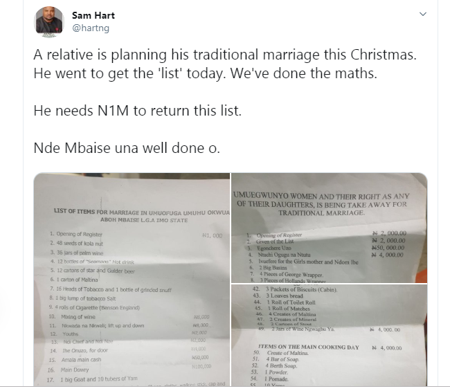 Abia State Man Shares A N1m Traditional Wedding List His