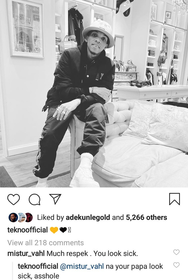 Tekno responds to insensitive follower who said he looks sick