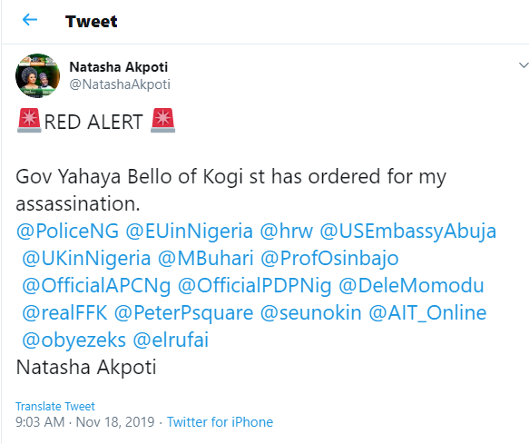 Kogi 2019:?SDP Governorship candidate, Natasha Akpoti says Yahaya Bello ordered her assassination