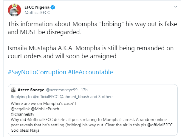 EFCC denies claim of Mompha bribing his way out of custody