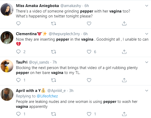 Twitter users react in shock as a video of a woman using pepper to scrub her vulva goes viral