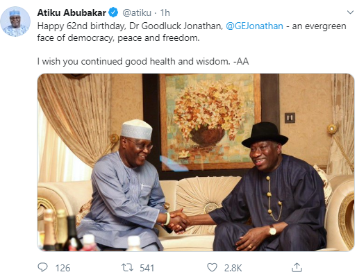 """An evergreen face of democracy, peace and freedom"" Atiku Abubakar praises Goodluck Jonathan in birthday message"