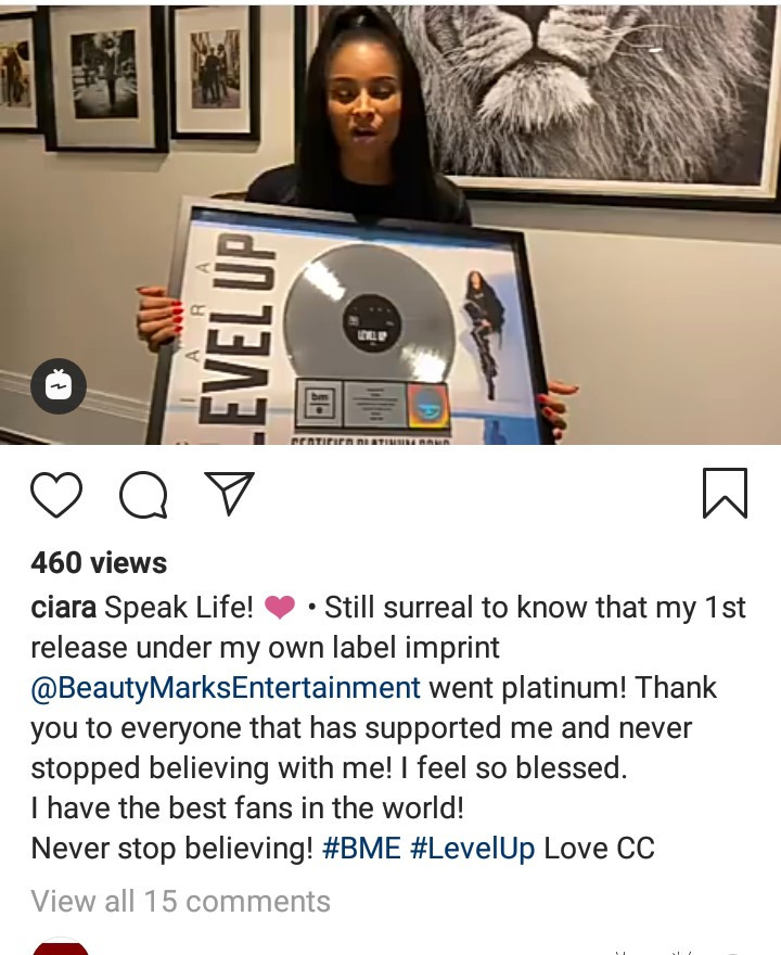 Ciara speaks about the power of faith in God and belief in self as she thanks her fans for making