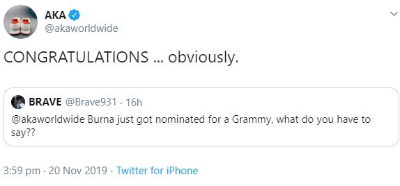 Nigerians gloat as AKA grudgingly congratulates Burna Boy on his Grammy nomination