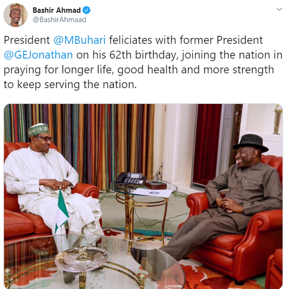Savage Nigerians react to the grammatical error in Bashir Ahmed's tweet conveying President Buhari's good wishes to Goodluck Jonathan