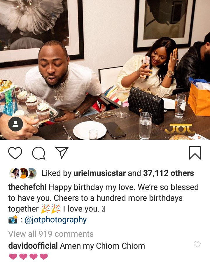 """My Chiom Chiom"" Davido responds as Chioma celebrates him on Instagram"