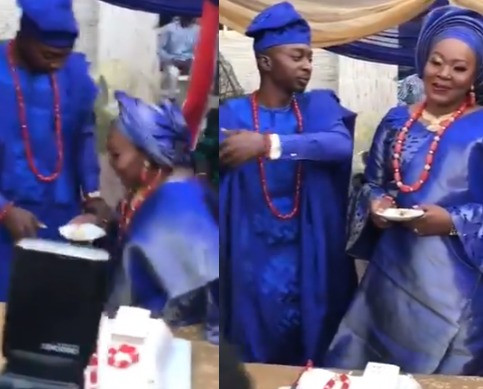 Lady praises her husband for stopping her from kneeling to feed him at their wedding (video)