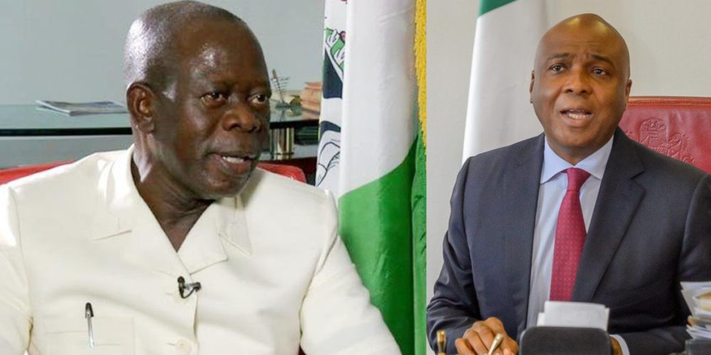 Oshiomhole mocks Saraki and others, says Dino Melaye is 20,000 feet below ground level and will need a miracle to be re-elected