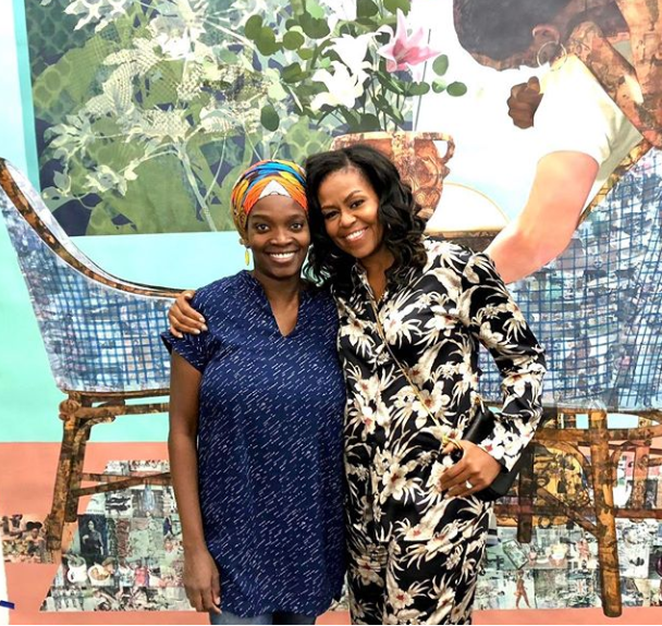 Michelle Obama pays a visit to Njideka Akunyili Crosby in her studio