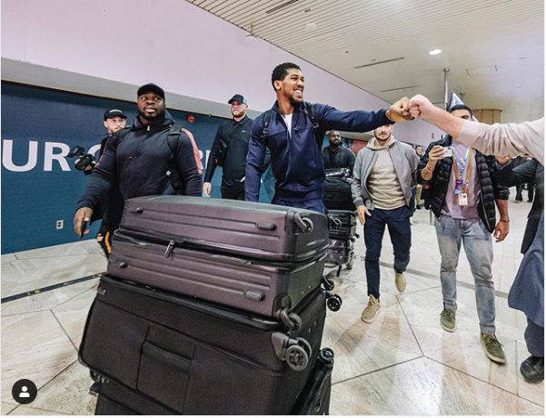 Anthony Joshua lands in Saudi Arabia ahead of his rematch with Andy Ruiz Jr (Photo)