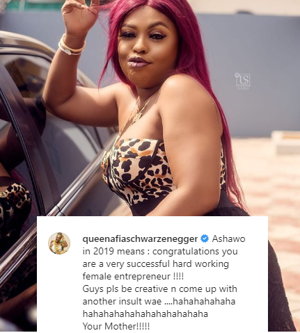 """Afia Schwarzenegger asks men to be more creative with their insults and stop calling hard working female entrepreneurs """"Ashawo"""""""