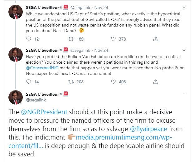 Have you probed the bullion van exhibition on Bourdillon? - Segalink reacts to EFCC
