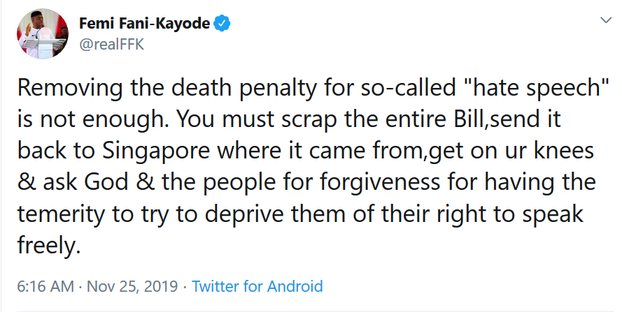 "Removing the death penalty for the ""hate speech"" bill is not enough, you must scrap the entire bill - FFK"