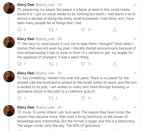 One month after, Glory Osei goes on a 184-Tweet-storm to defend allegations of