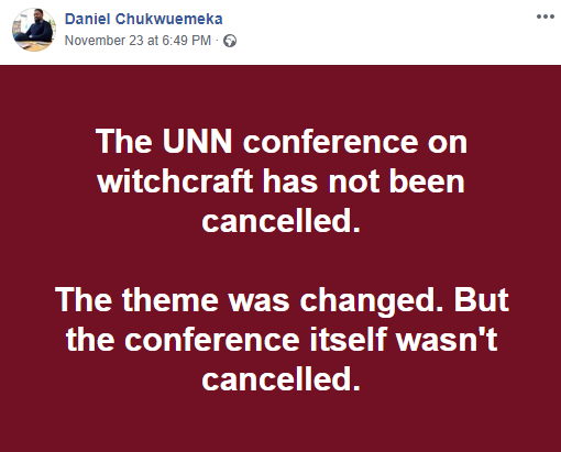UNN bows to pressure and changes the theme for the conference on Witchcraft