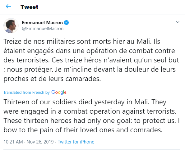 Helicopter collision kills 13 French soldiers who were about to attack jihadists in Mali
