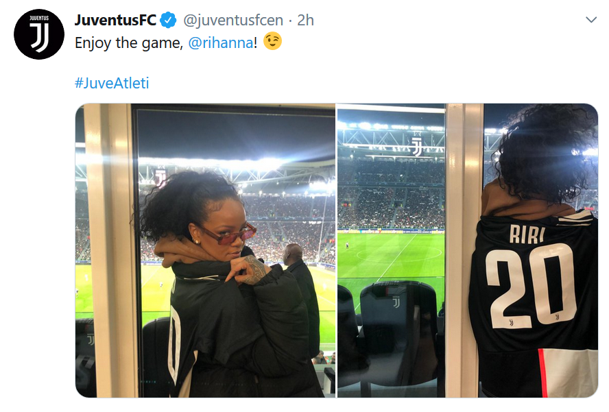 Rihanna pictured watching Cristiano Ronaldo & teammates in UEFA champions league clash against Atletico Madrid