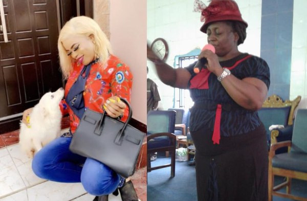 Bobrisky reacts to Prophetess Mummy B