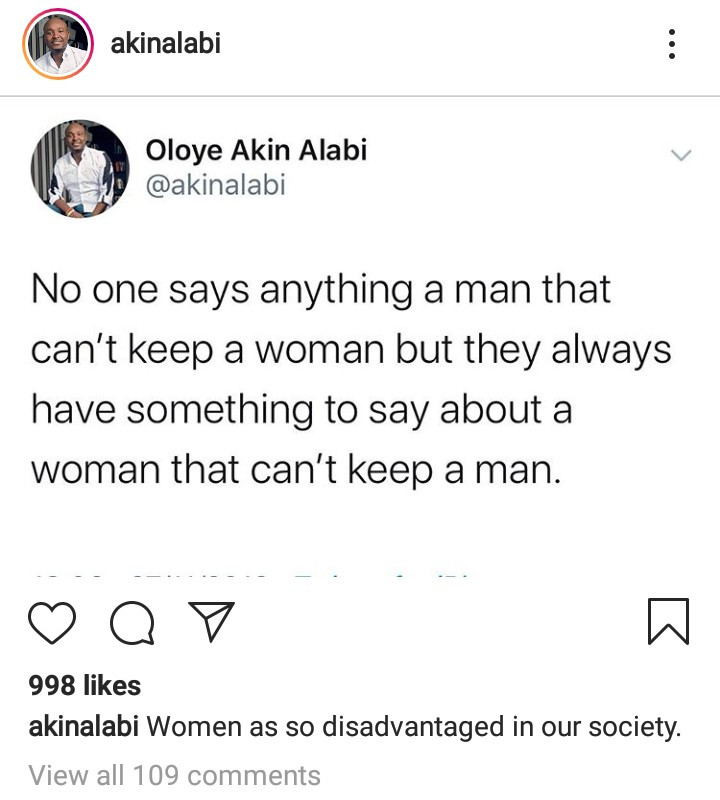 Akin Alabi points out the difference in how men and women who had broken relationships are treated