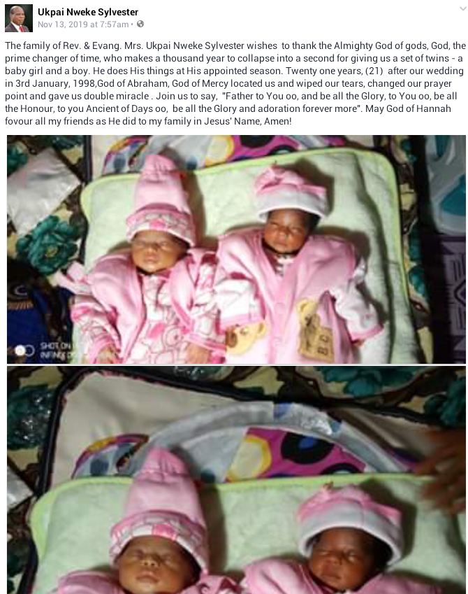 Nigerian pastor and wife welcome a set of twins after 21 years of marriage (photos)
