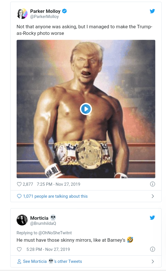 Twitter users react after Trump posts bare chested image of his face on a Rocky Balbao body