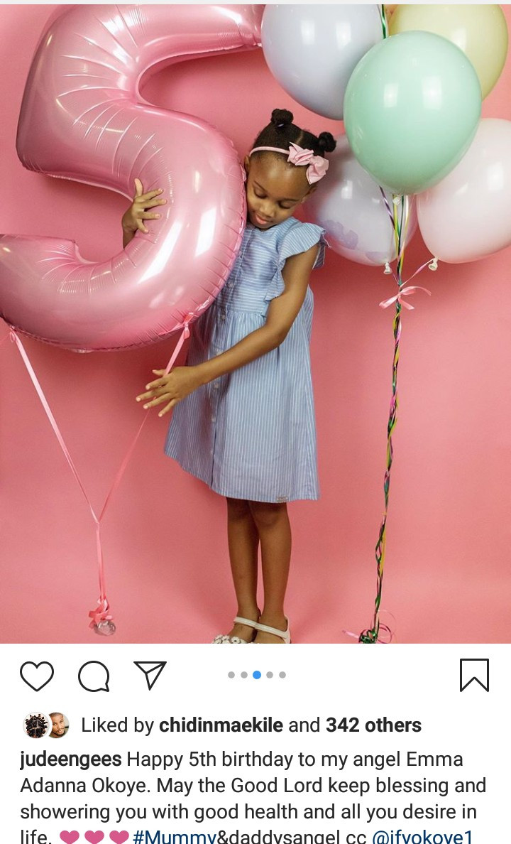 Jude Okoye celebrates his first daughter as she turns 5