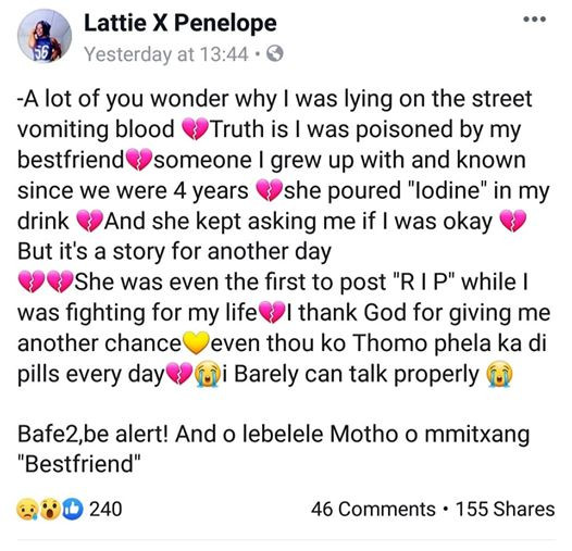 """She was the first to post R I P while I was fighting for my life"" - Young woman narrates how she was allegedly poisoned by her best friend"