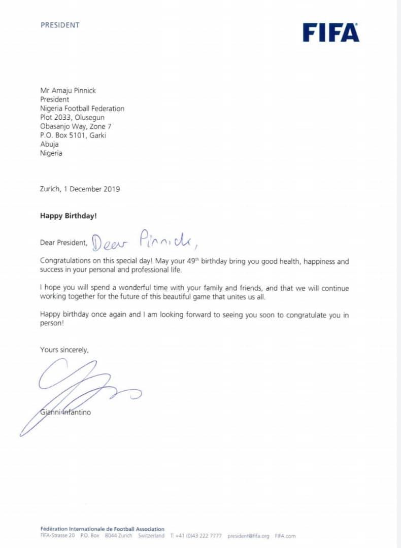FIFA president, Gianni Infantino, congratulates NFF president, Amaju Pinnick, as he turns 49