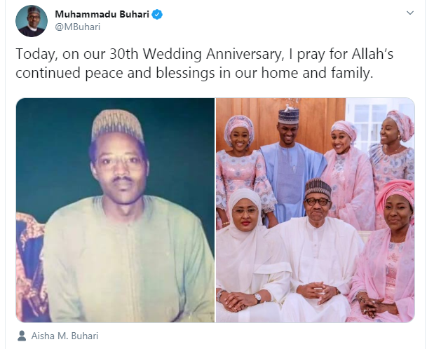 President Buhari and Aisha celebrate 30th wedding anniversary (video)