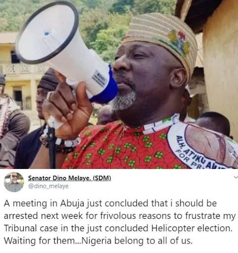 A meeting in Abuja just concluded that I should be arrested next week for frivolous reasons- Dino Melaye alleges