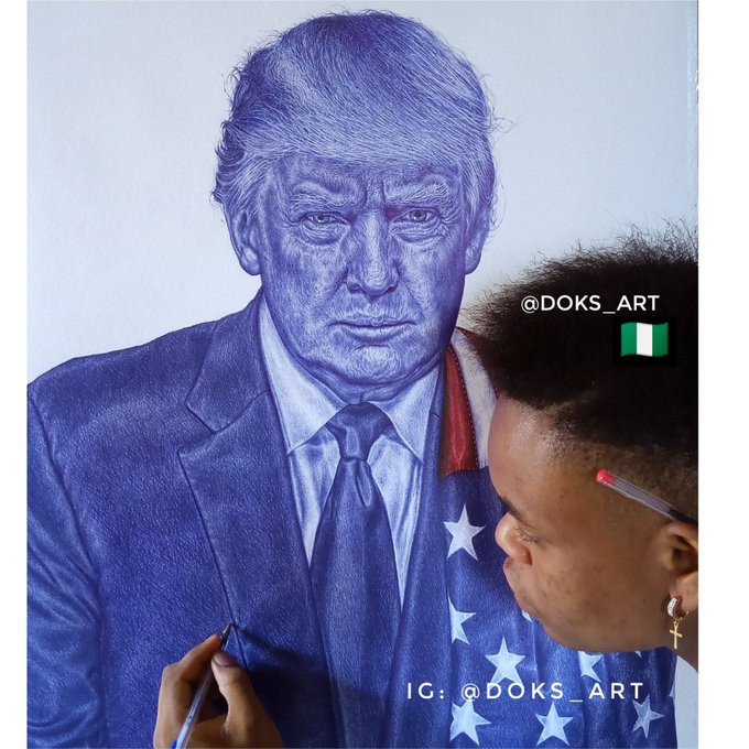 Never give up on your dream - President Trump tells Nigerian boy who drew his portrait