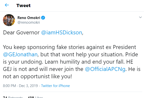 Dear Governor Dickson, pride is your undoing and stop sponsoring fake stories against Goodluck Jonathan?- Reno Omokri