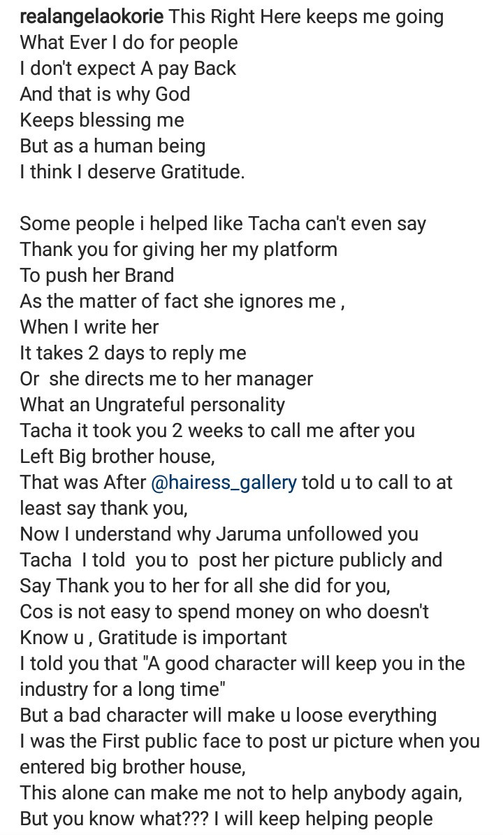 """What an ungrateful personality"" Angela Okorie calls out Tacha for not showing gratitude after she supported her while in the Big Brother Naija house"