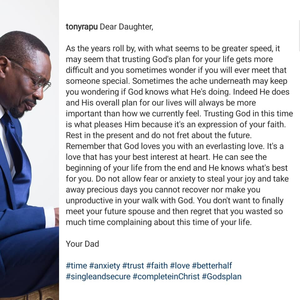 Pastor Tony Rapu's open letter to single ladies is everything...