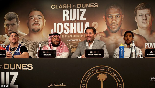 Anthony Joshua and Andy Ruiz face off ahead of their much-anticipated rematch on Saturday (Photos)