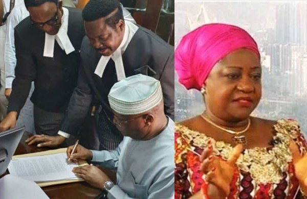 Atiku appears in court, signs N2.5bn libel suit against Lauretta Onochie thumbnail