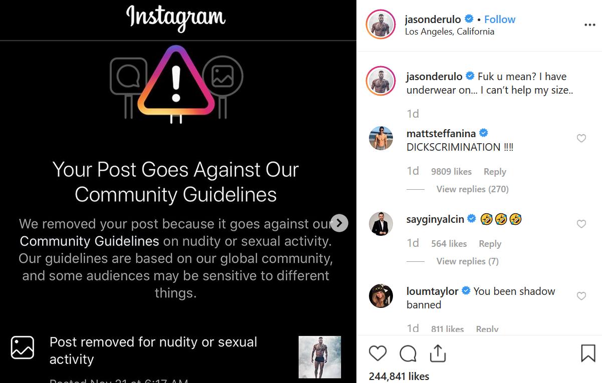 Singer Jason Derulo slams Instagram for removing his steamy underwear photo due to